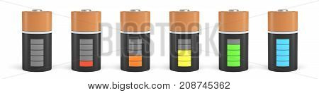 3d rendering of six D type batteries with charge indicators in different stages of energy levels. Maximum charge. Depleted batteries. New and old portable power.