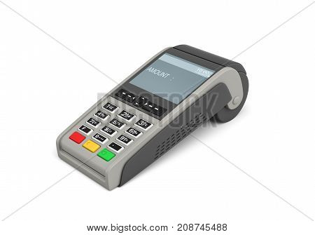 3d rendering of an empty POS-terminal with a screen showing a lettering AMOUNT and no numbers. Increase sales. Plastic card processing. Convenient shopping.