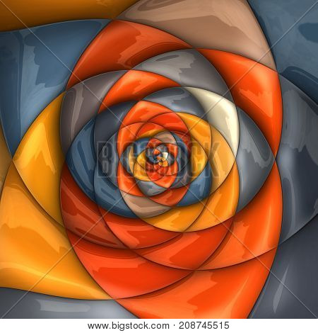 3D rendering combo artwork with glossy puffs fractal rose flower