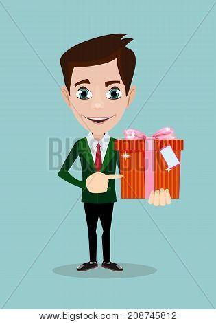 Businessman holding a present. Stock flat vector illustration.