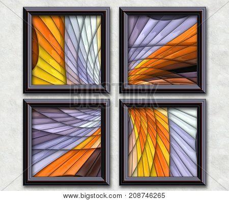 3D rendering puff pixels fractal angle fears artwork gallery in elegant frames