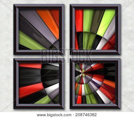 3D rendering puff pixels circular fractal artwork gallery in elegant frames