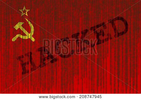Data Hacked Ussr Flag. Soviet Union Flag With Binary Code.
