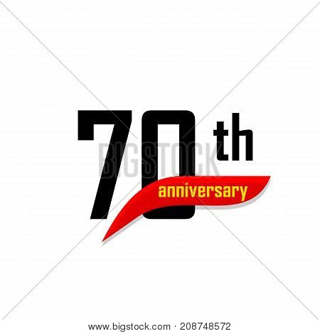 70th Anniversary abstract vector logo. Seventy Happy birthday day icon. Black numbers witth red boomerang shape with yellow text 70 years