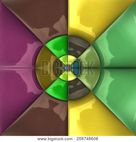 3D rendering combo artwork with glossy puffs triangle pattern tile