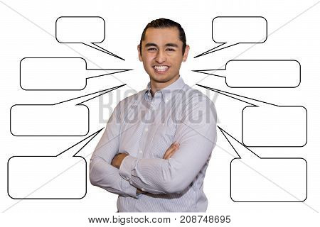 bissnessman in casual wear keeping arms crossed and smiling while standing isolated on white background