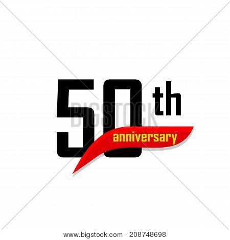 50th Anniversary abstract vector logo. Fifty Happy birthday day icon. Black numbers witth red boomerang shape with yellow text 50 years