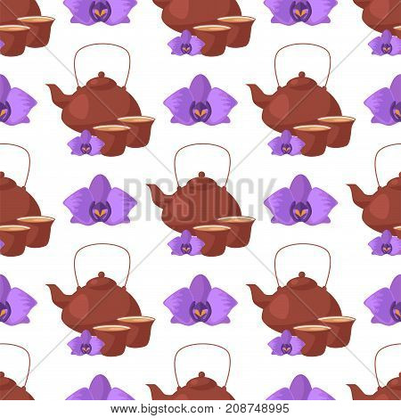Tea ceremony traditional asian drink seamless pattern orchid vector illustration. Japanese antique bowl healthy hot natural beverage. Beautiful relax service oriental teapot.