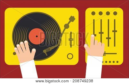 Turntable and mixer with dj hands modern music flat concept vector illustration