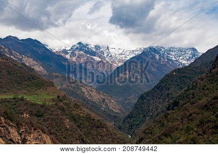 Beautiful View Of Annapurna Mountain Range Seen Along The Trek Of Annapurna Himalayas Circuit In Gha