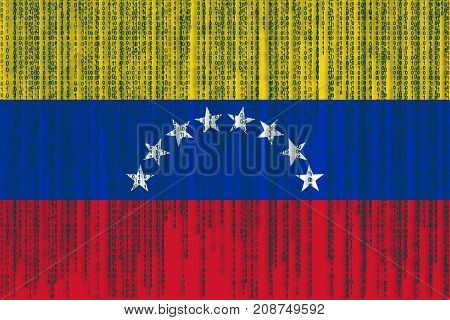 Data Protection Venezuela Flag. Venezuela Flag With Binary Code.