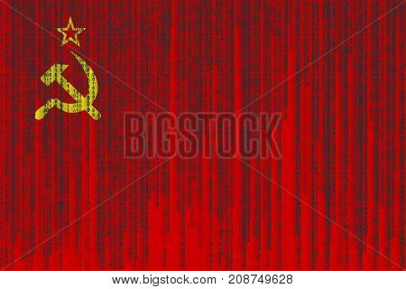 Data Protection Ussr Flag. Soviet Union Flag With Binary Code.