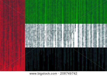 Data Protection Uae Flag. United Arab Emirates Flag With Binary Code.