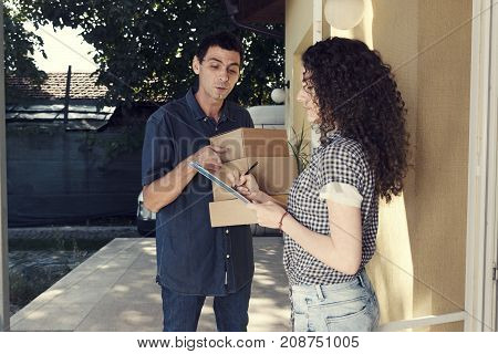 Delivery Man Home Porch Boxes Woman Curly