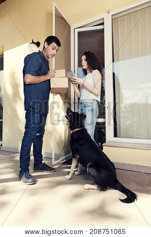 Shopping Home Delivery Service Courier Dog Porch