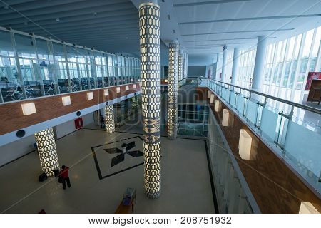 West Nusa Tenggara Indonesia - July 27 2017: The main hall of Lombok International Airport is a new airport on the island of Lombok in Indonesia