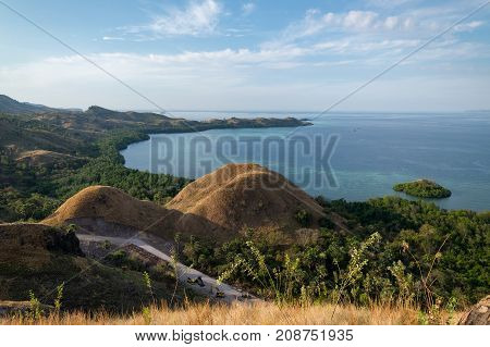 Beautiful landscape of Amelia sunset point with clear sky and crystal blue waters in Labuan Bajo Flores Island East Nusa Tenggara Indonesia