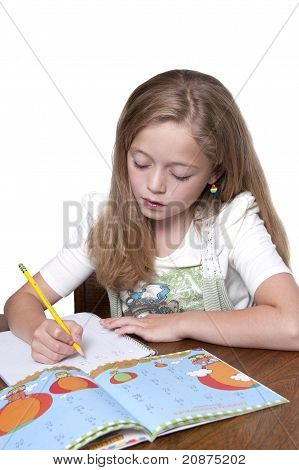 Beautiful Young Girl Doing Homework