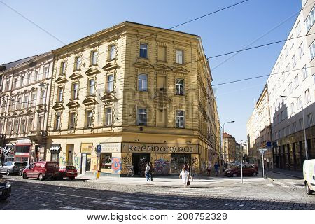 Czechia People Walking  On Jugoslavska Road And Tramcar With Classic Building At Praha 2 Or Prague 2