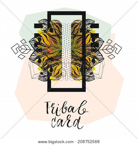 Hand drawn vector abstract modern tropical minimalistic tribal card template.Wedding, marriage, save the date, baby shower bridal, birthday, Valentine's day.Stylish simple design.Poster template