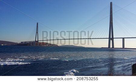 Russky Bridge from Vladivostok to Russky island