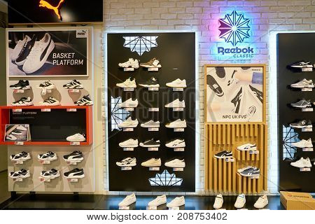 BUSAN, SOUTH KOREA - MAY 28, 2017: shoes on display at Lotte Department Store.