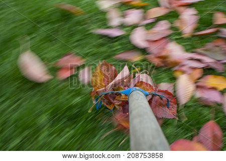 raking leaves - autumn work in the garden - long exposure time - accentuating movement in the photo
