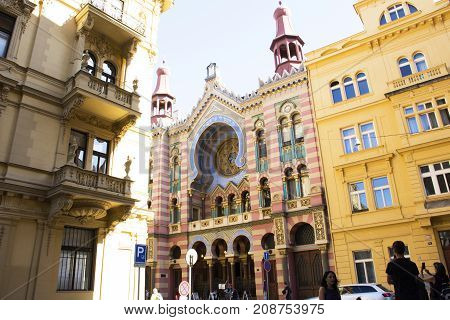 Czechia People And Foreigner Travelers Visit Jubilee Synagogue Or Jerusalem Synagoga Colorful Buildi