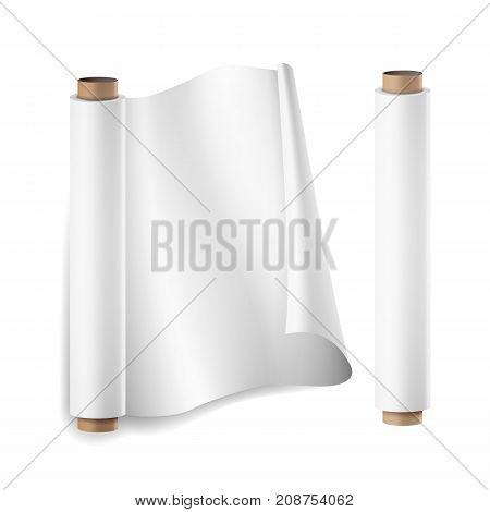 Baking Paper Roll Vector. Close Up Top View. Opened And Closed. Parchment For Baking Culinary. Realistic Illustration Isolated