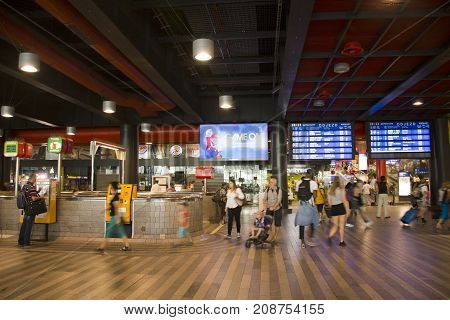 Czechia People And Foreigner Traveler Passengers Wait And Walk At Prague Main Railway Station Or Pra