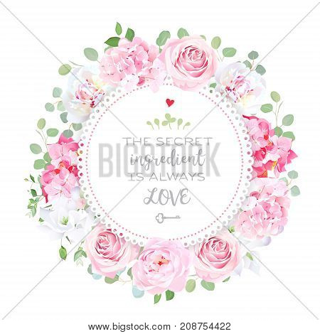 Blooming peony, pink hydrangea, rose, white freesia, eucalyptus, spring leaves and flowers vector design round frame. Wedding cute template. Delicate floral card.All elements are isolated and editable