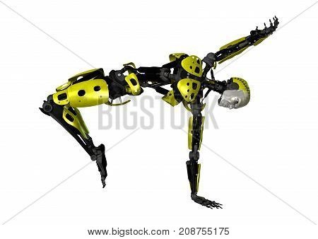 3D Rendering Dancing Robot On White