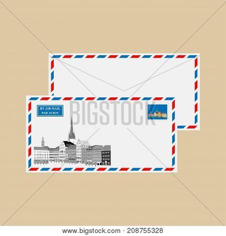 Air mail envelope with stamps, postmarks and Gamla Stan, Stockholm, Sweden. Vector illustration