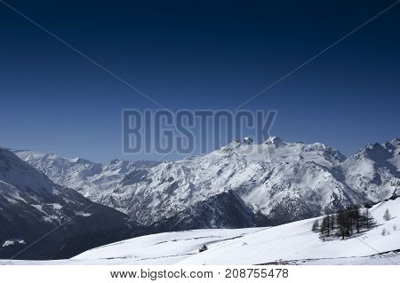 landscape from vetan during winter in italy