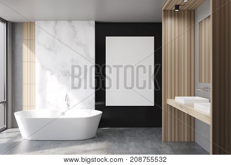 Marble And Black Bathroom, Poster