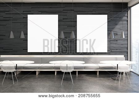 Black cafe interior with black wooden walls panoramic windows a concrete floor light gray sofas round tables and transparent chairs. Two vertical posters. 3d rendering mock up
