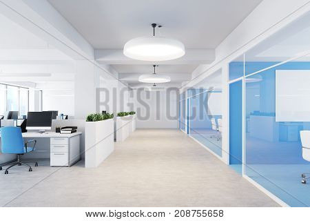 Blue Open Space Office Interior