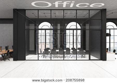Black Brick And Glass Meeting Room, Concrete
