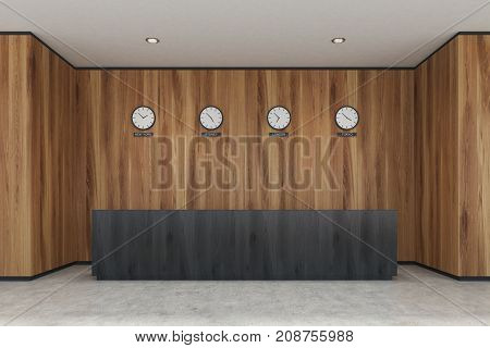 Black Reception Desk, Wooden Office