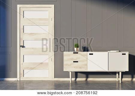 Gray Room, Chest Of Drawers And Door