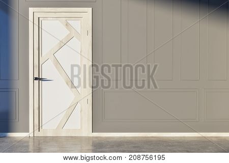 Gray Walled Room With White And Wooden Door