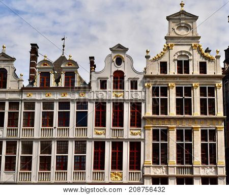 Fassade of the Grand place, decorated hause, Grand place, Brussels, Belgium