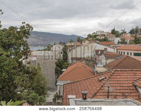 Herceg Novi - September 25 2017: View of the city from the Old Town and red roofs from the tile September 25 2017 Herceg Novi Montenegro