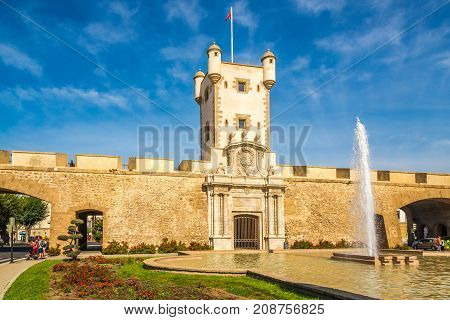 CADIZ,SPAIN - SEPTEMBER 30,2017 - View at the Tower of the Earth Doors at the Constitution place in Cadiz. Cadiz is the oldest continuously inhabited city in Spain.