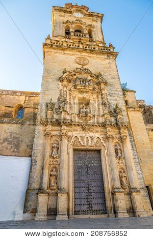 ARCOS DE LA FRONTERA,SPAIN - SEPTEMBER 30,2017 - View at the church of San Pedro in Arcos de la Frontera. Arcos de la Frontera is a town and municipality in the Sierra de Cadiz.