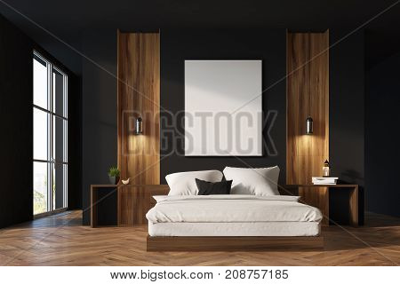 Black And Wooden Bedroom Interior