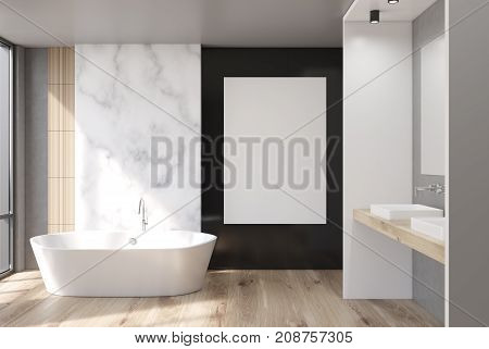 Marble, White And Black Bathroom, Poster