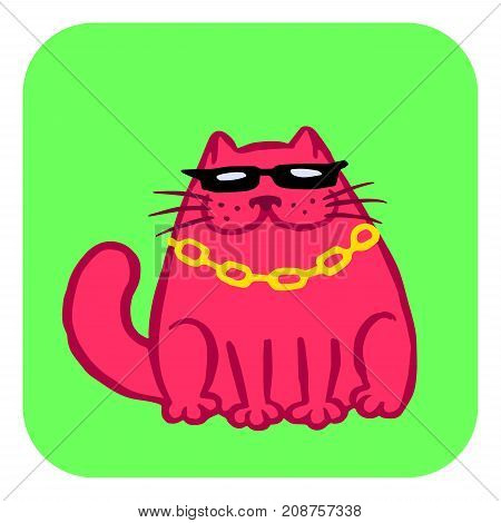 Red cat in black glasses and chain. Funny cartoon cool character. Contour freehand digital drawing cute cat. White color background. Cheerful pet for web icons and shirt. Isolated vector illustration.