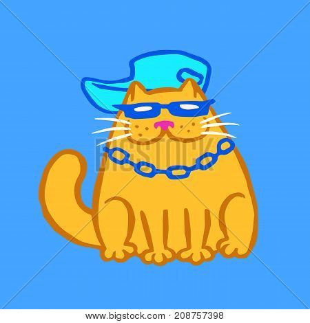 Rapper cat. Vector illustration. Funny cartoon character. Blue color background.