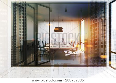 Open Space Office, Gray And Wooden Walls, Toned